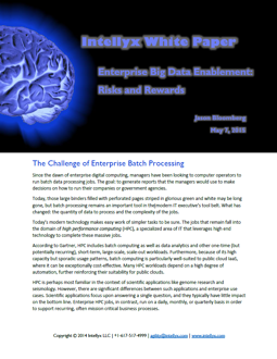 Enterprise Big Data Enablement: Risks & Rewards